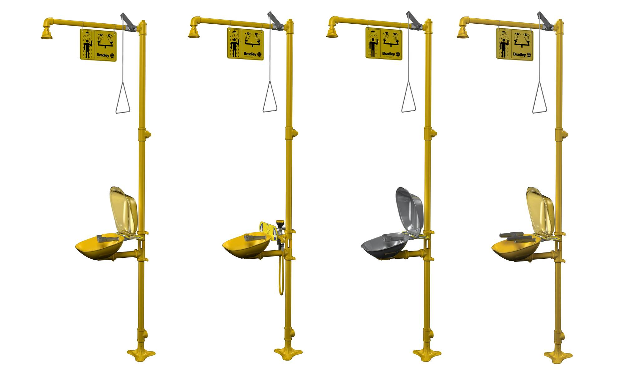 Combined emergency showers in industrial environments.